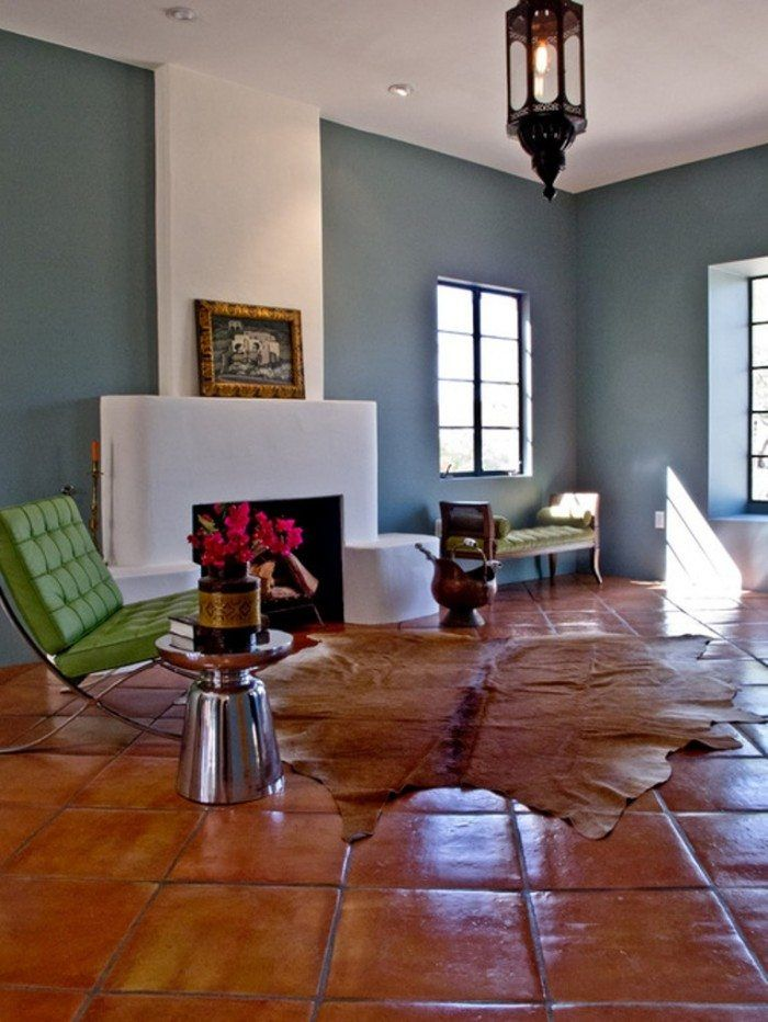 Terracotta Floor Tile Decorating Ideas Contemporary Living Room With Saltillo Tiles  Living Rooms