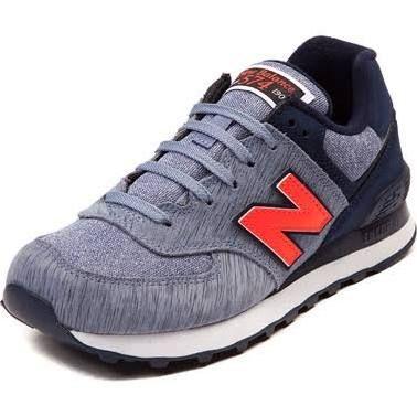 Womens New Balance Blue   Orange 574 Sweatshirt Athletic Shoe ... 0f0b89cc06
