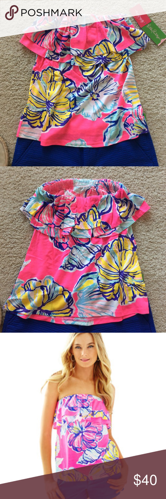 """Lilly Pulitzer Rilo Tube Lilly Pulitzer Rilo Tube Top 'Swept By The Tides'. A summertime staple💜. Bright, fun print. Double flounce tube top. Laying flat approx 18"""" long, approx 11"""" unstretched. There is an elastic band at the top. Can stretch to approx 14.5"""" across. 50 cotton 50 modal. Size XS. NWT, never worn. #766 Lilly Pulitzer Tops"""