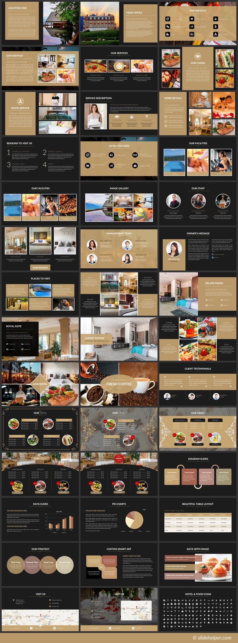 Luxury Hotel Powerpoint Template With Hotel Themed Icons Ppt Slides Powerpoint Presentation Templates Powerpoint Templates Infographic Powerpoint