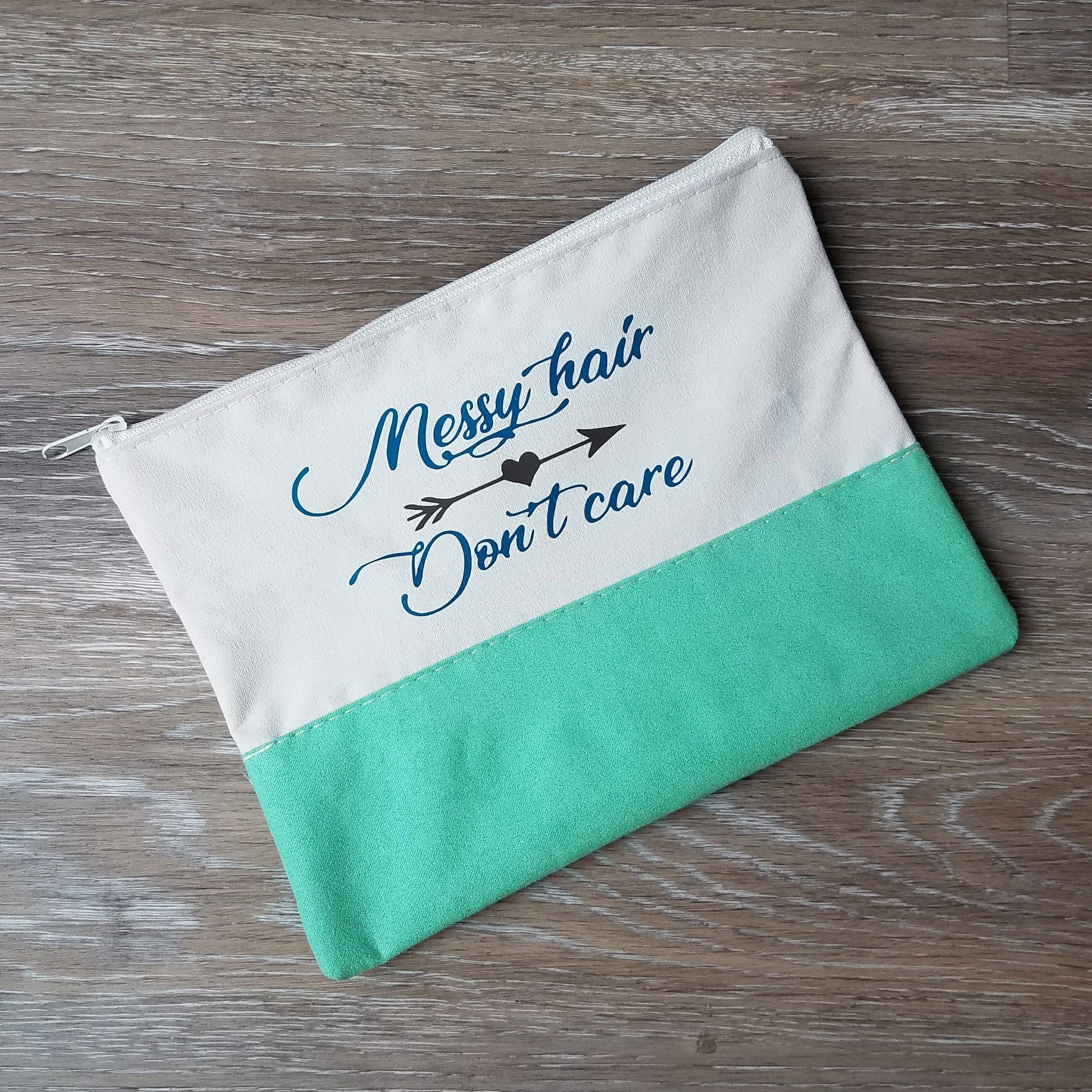 Messy Hair Don't Care Handmade Canvas Makeup Bag in my