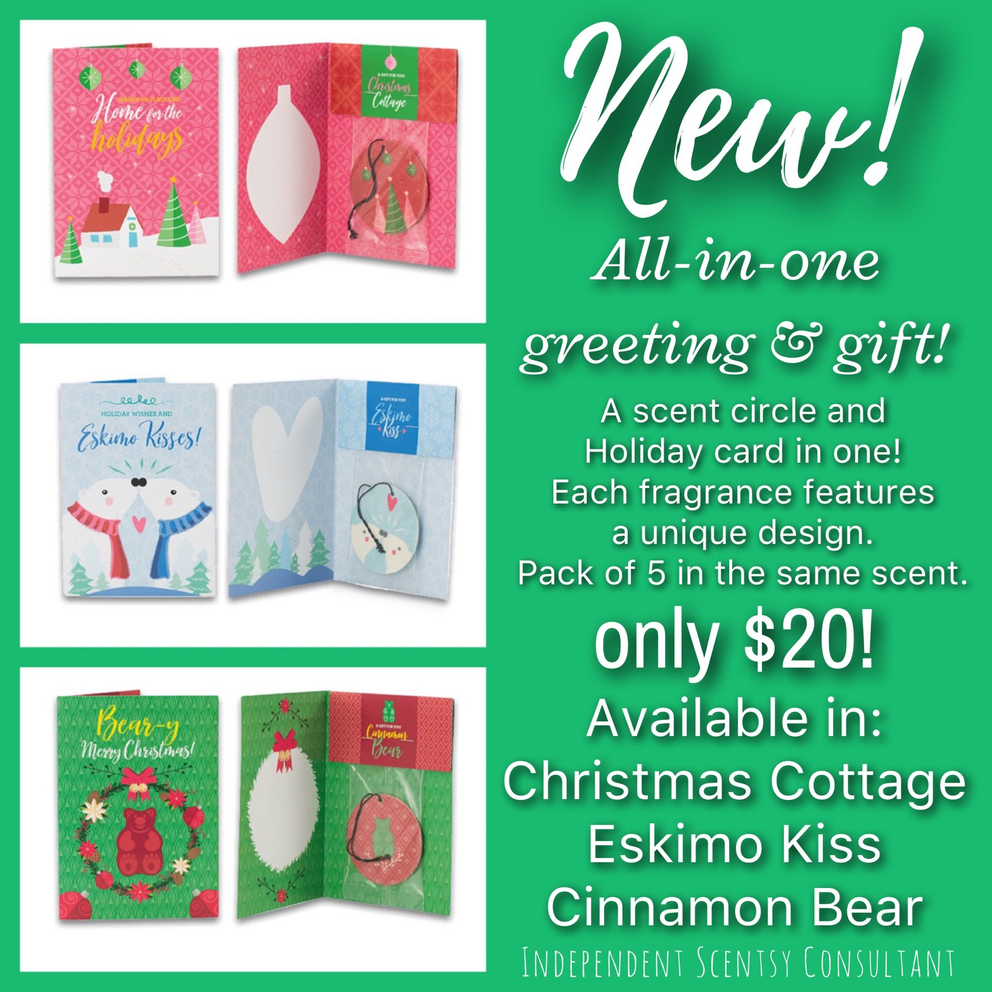 New Holiday greeting cards 5 in a pack all the same scent