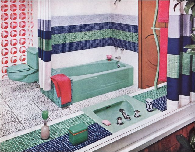 Bright Yellow 1960s #Bathroom Design- click here for a great article about  the origins