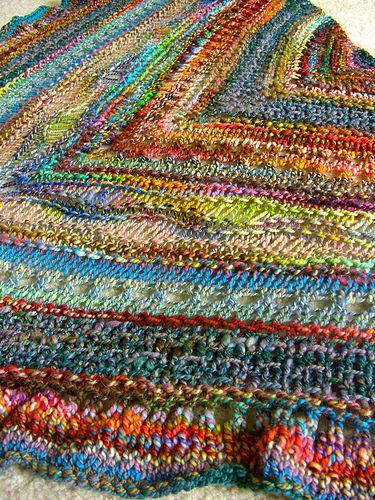 Faraway So Close shawl in handspun scraps