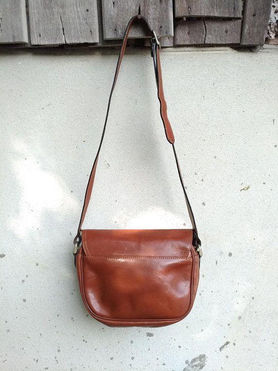 Vintage Leather Bag Katana Paris Purse Crossbody Chestnut Brown Small Rea