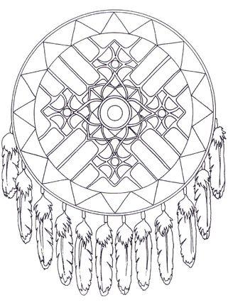 Native American Dreamcatcher Mandala coloring page | Mandalas ...