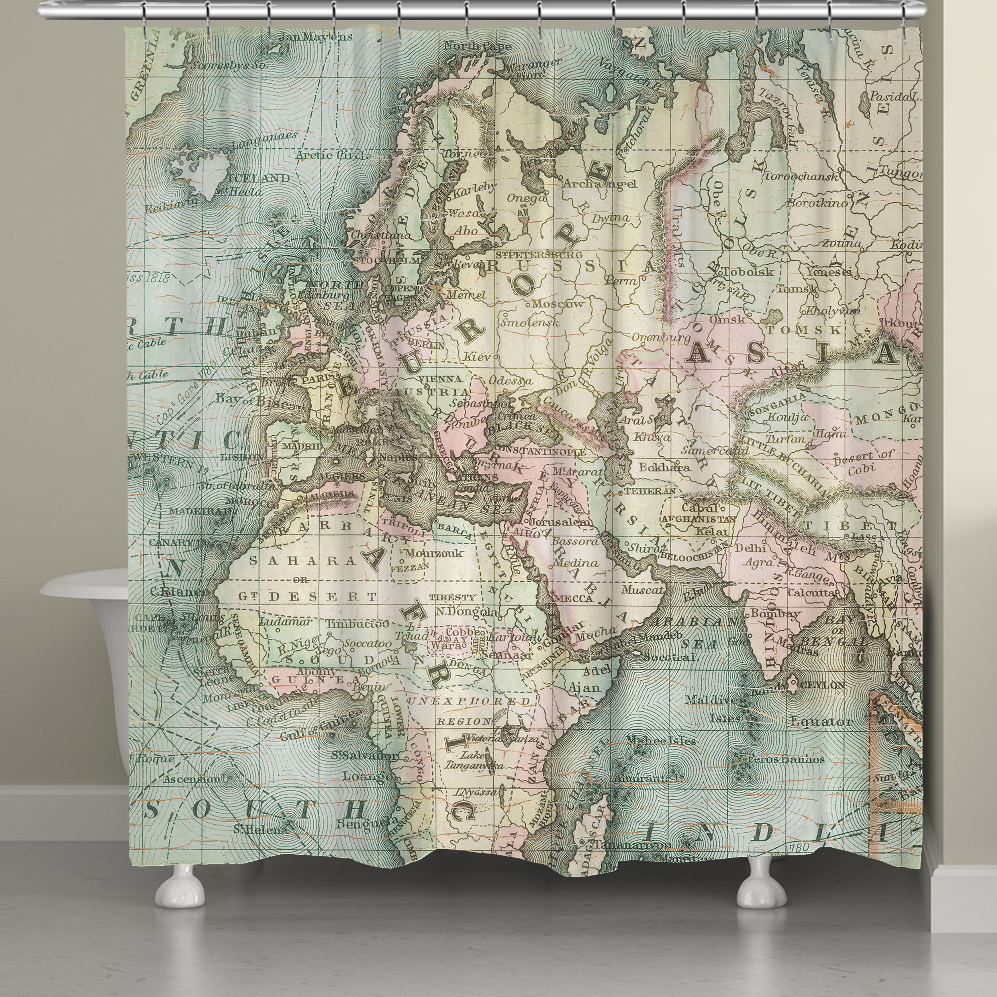 The Soft Colors On The Vintage Map Shower Curtain By Laural Home