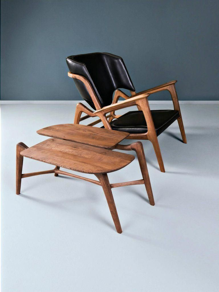 Organic Modern Tisa Armchair Contemporary Lounge Chair In Walnut And High Quality Leather For