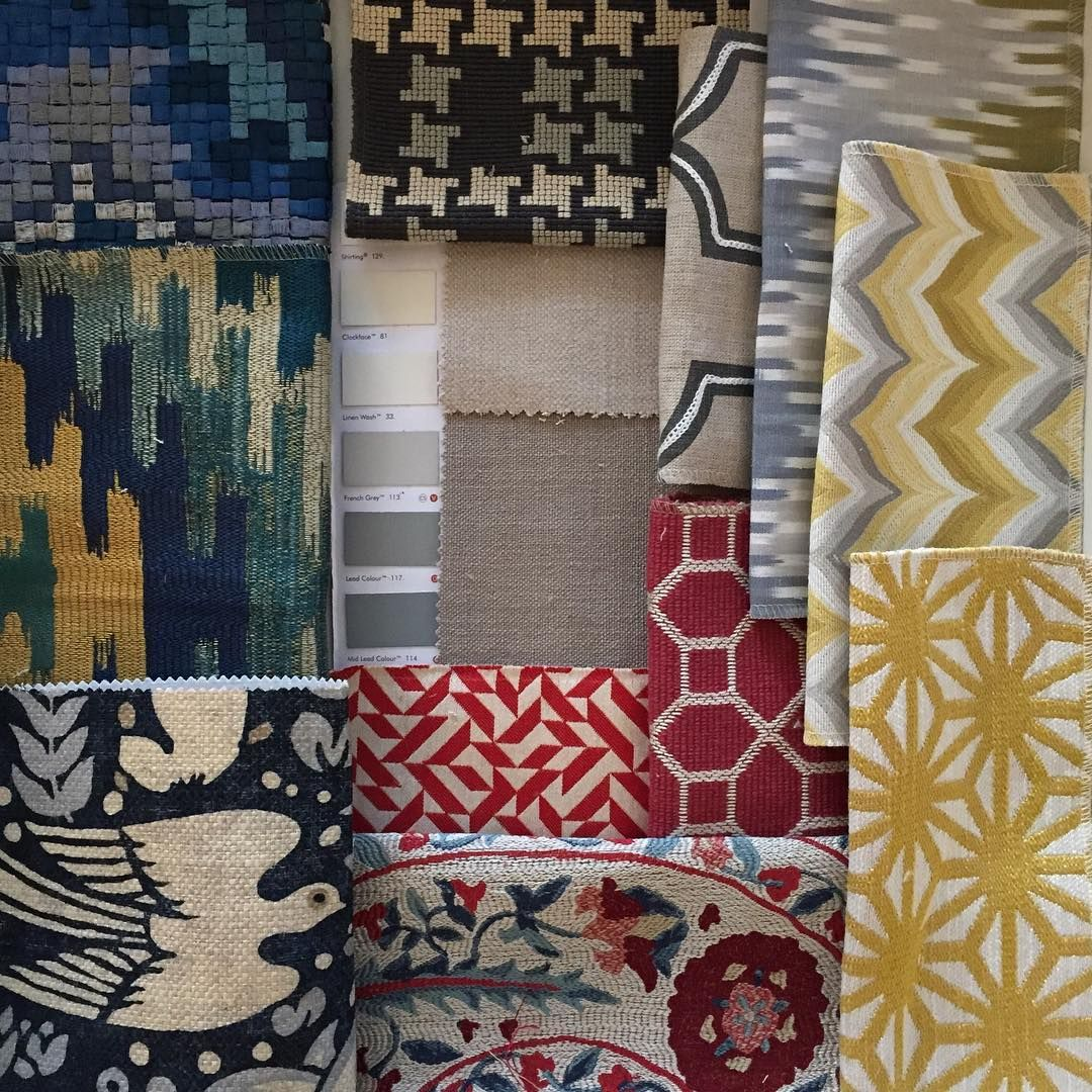 choosing accent fabrics for a client all toning off