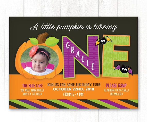 Pumpkin First Birthday Invitation Halloween Photo