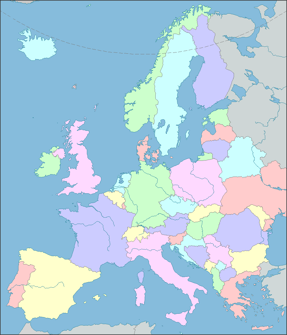 EUROPE MAP Interactive Map of Europe showing countries, rivers ...