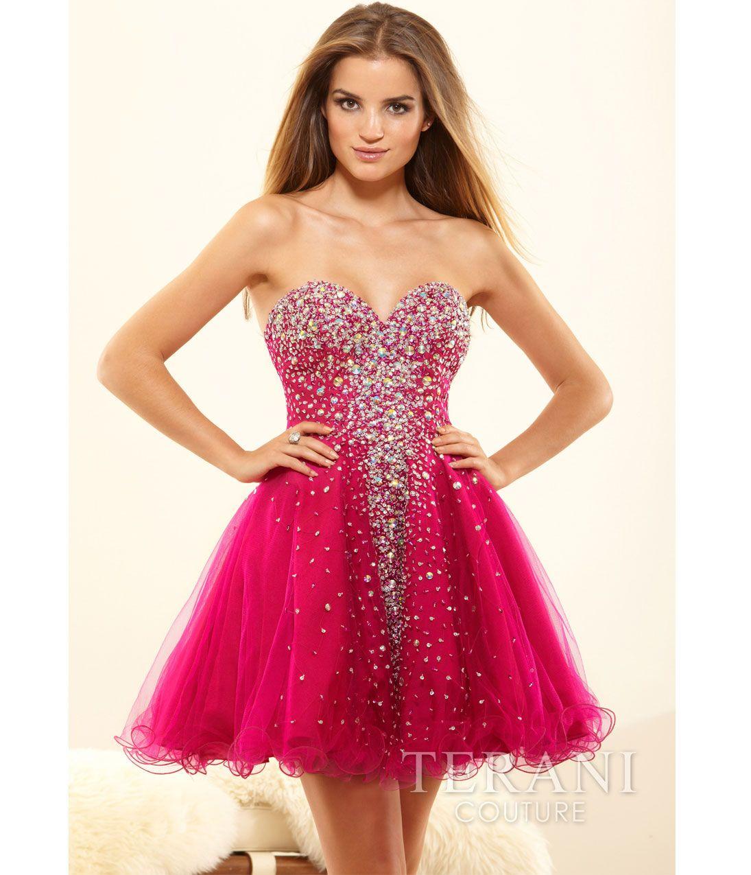 Fuchsia Short Strapless Dresses