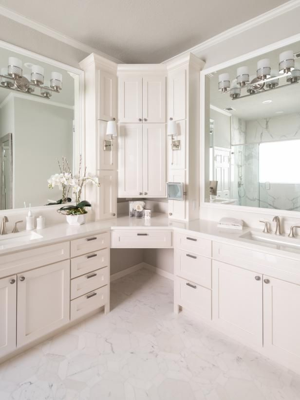 check out this unique corner double vanity bathroom on