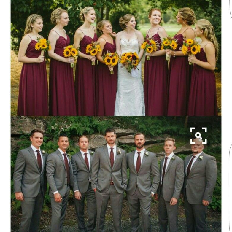 Sunflower Theme Wedding Grey And Maroon