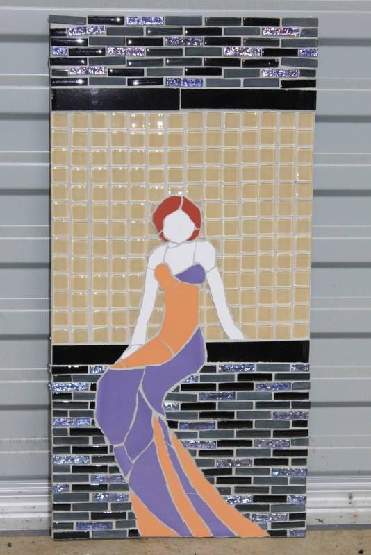 Tile mosaic art deco lady - by Sandra Holmes NZ