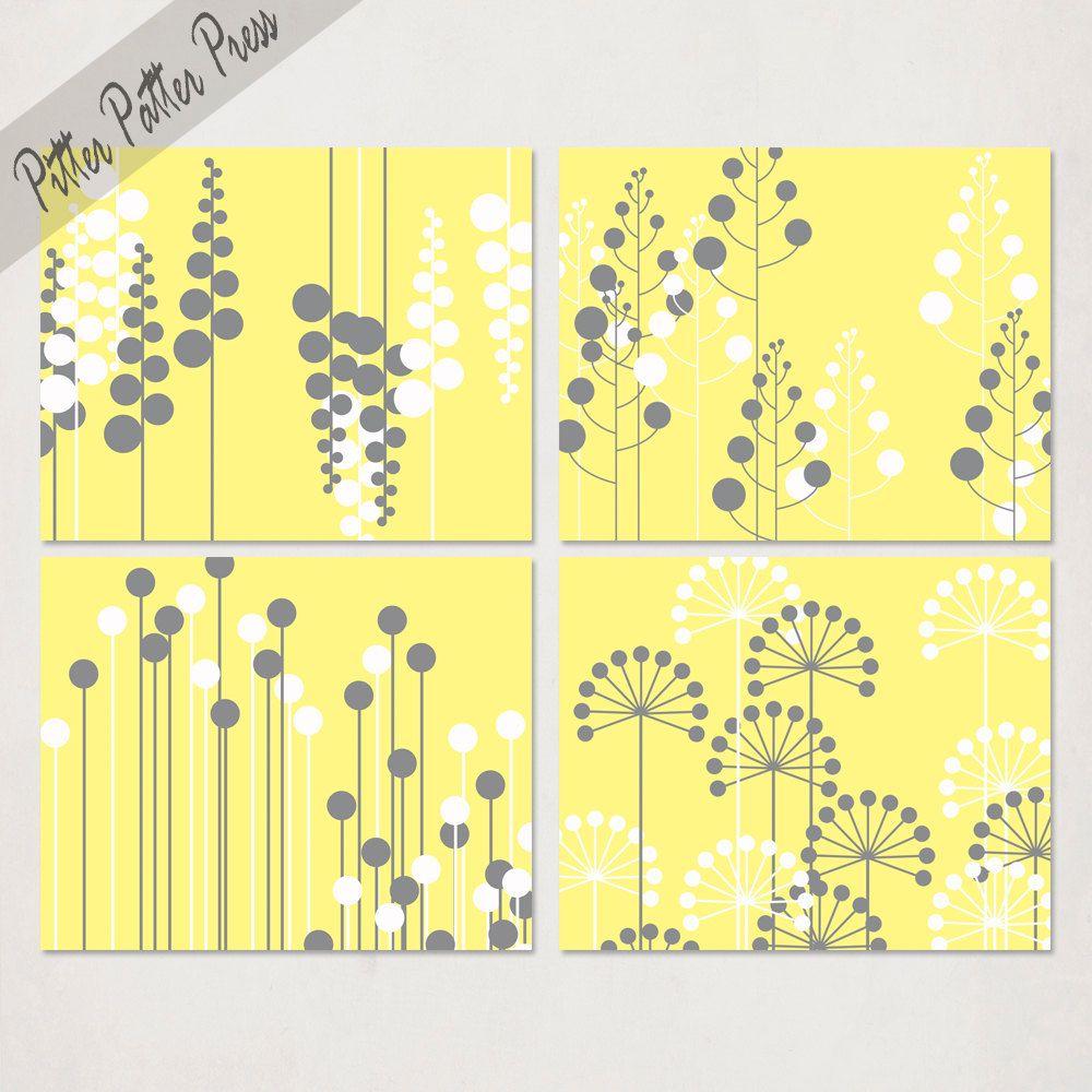 Modern Flower Art Print, yellow and gray art, wall art for living ...