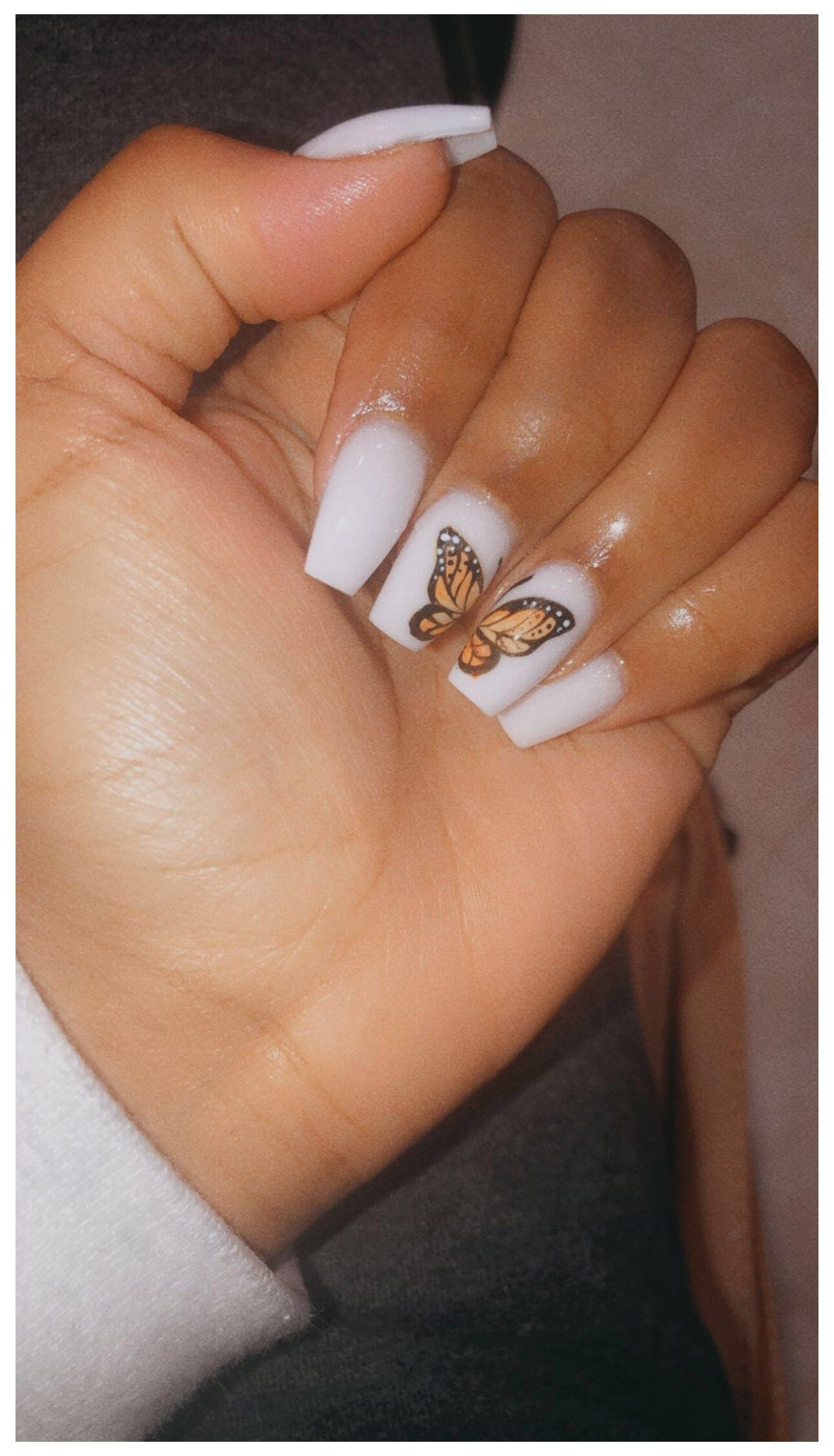 Short Acrylic Nails Designs Butterfly White Short Coffin Nails Nails Acrylic Cute N In 2020 Short Acrylic Nails Designs Ombre Acrylic Nails Summer Acrylic Nails