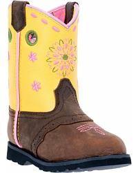 John Deere Toddler Girls' Johnny Popper Floral Western Boots - Square Toe - Sheplers