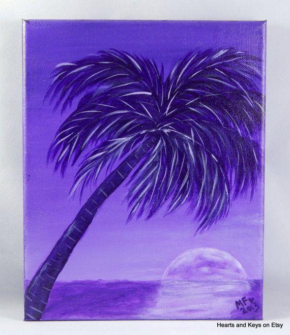 A Night At Purple Palm Original Palm Tree Painting