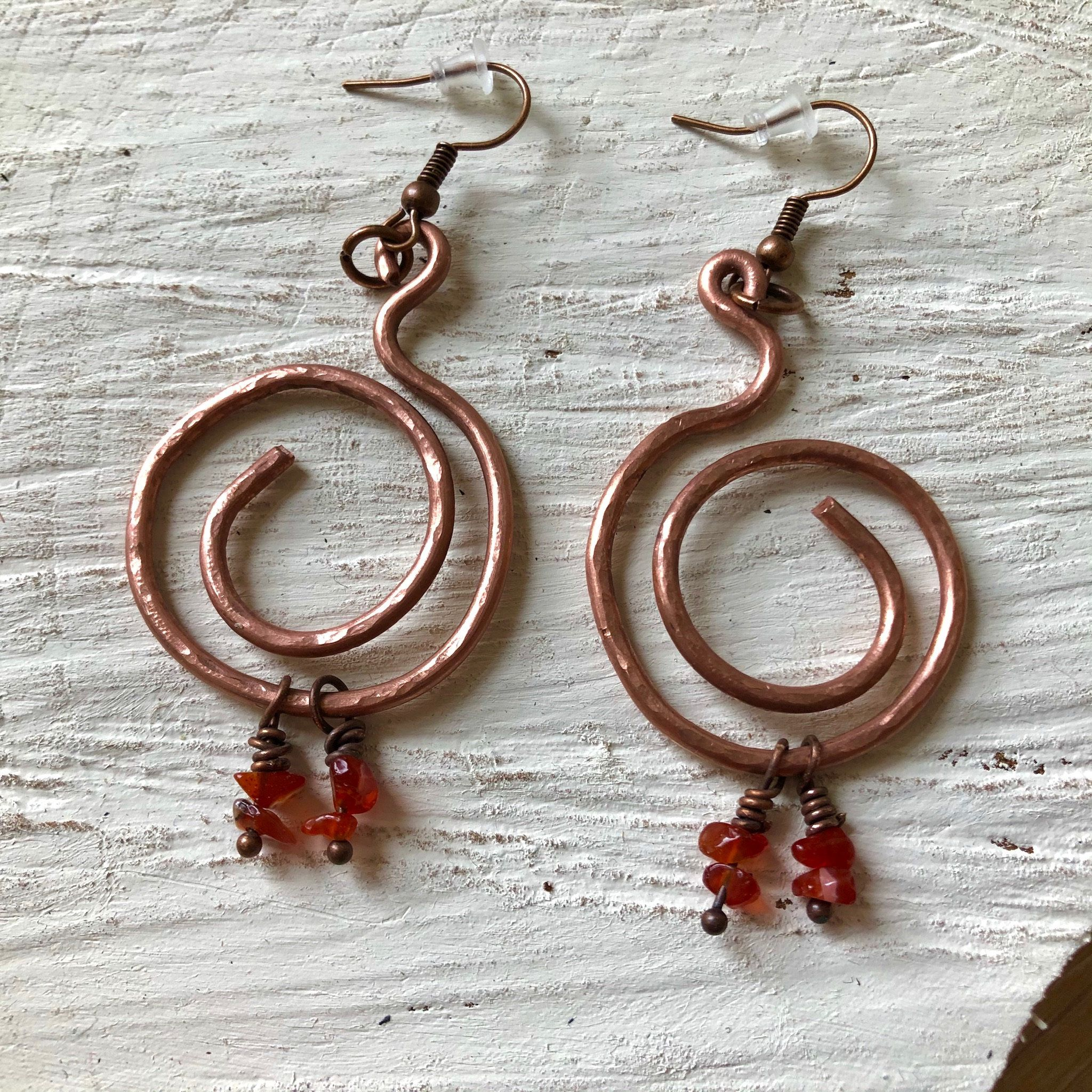 Carnelian Copper Hoop earrings