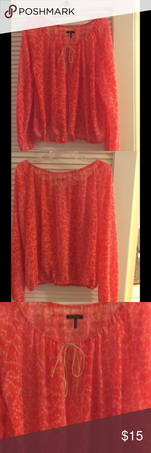 Shirt Coral color. Sheer gold flecked swirl  pattern. Worn lightly Great condition  elastic waist. Daisy Fuentes Tops Blouses