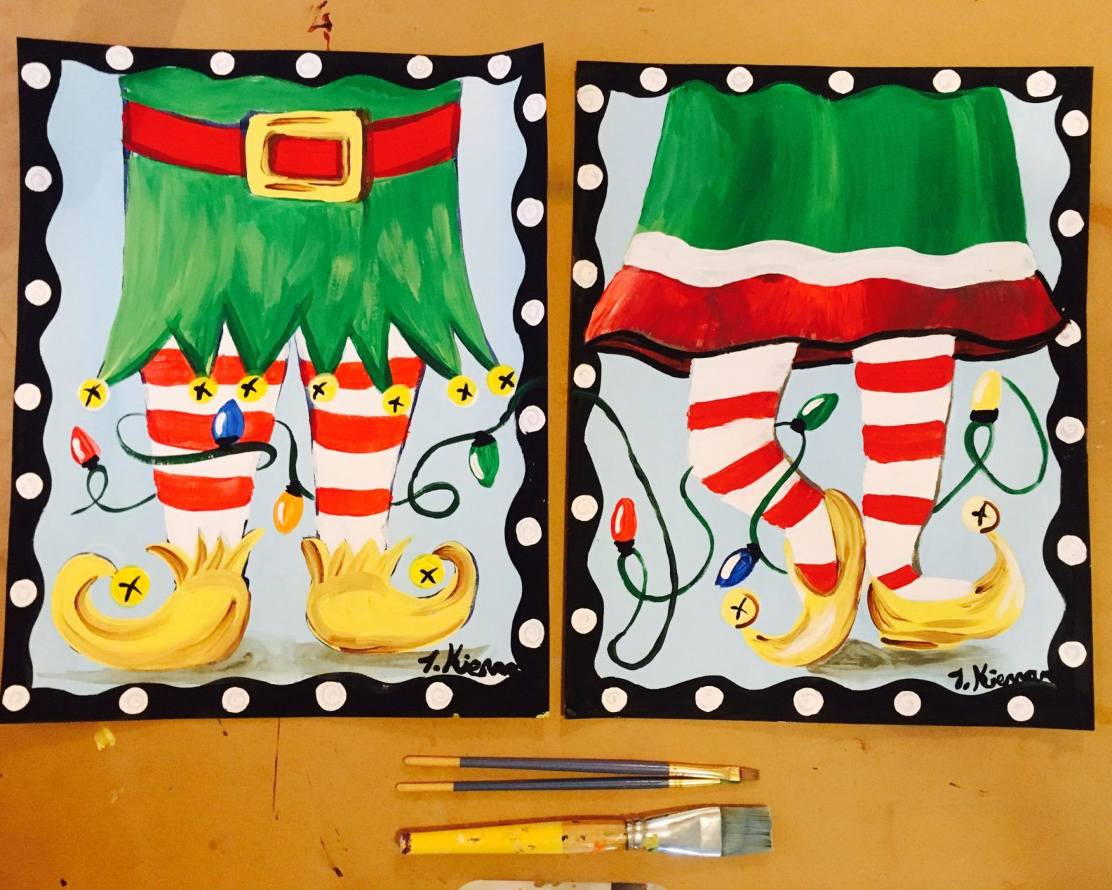 How To Paint Elf Legs Christmas Paintings Art Canvas