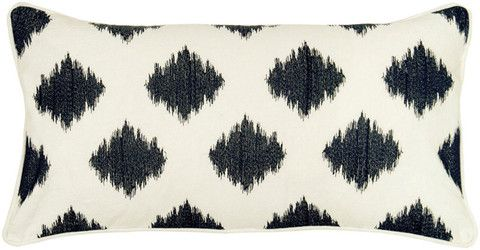 One of our most popular throw pillows. Nicely affordable for high quality fabric and design. Black Diamond Ikat Pillow