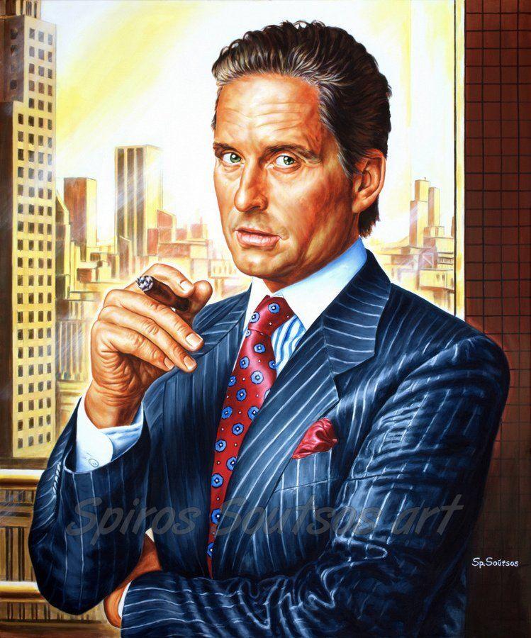 Gordon Gekko Painting Michael Douglas Portrait Wall Street 1987