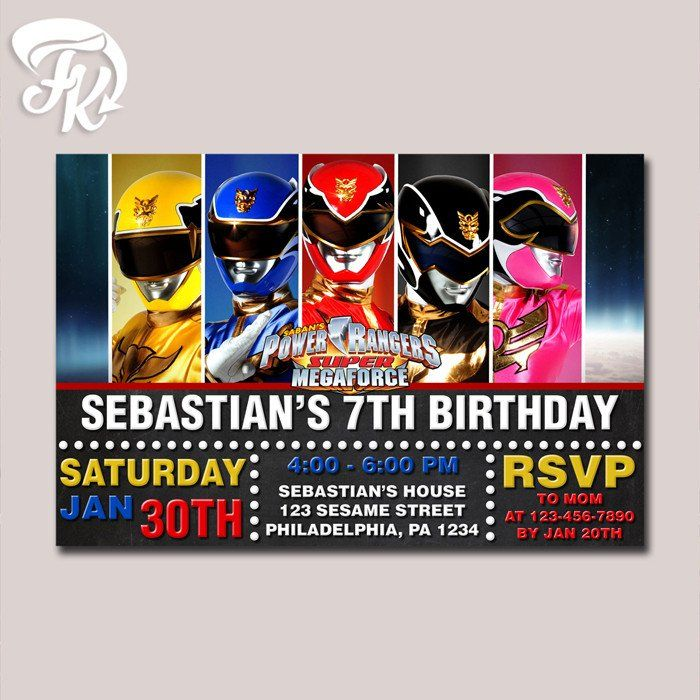 Power Rangers Chalkboard Megaforce Birthday Party Card Digital – Power Rangers Party Invitations