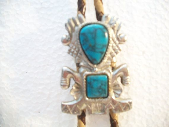 Vintage Turquoise Kachina Bolo Tie Native American Southwestern Country Western