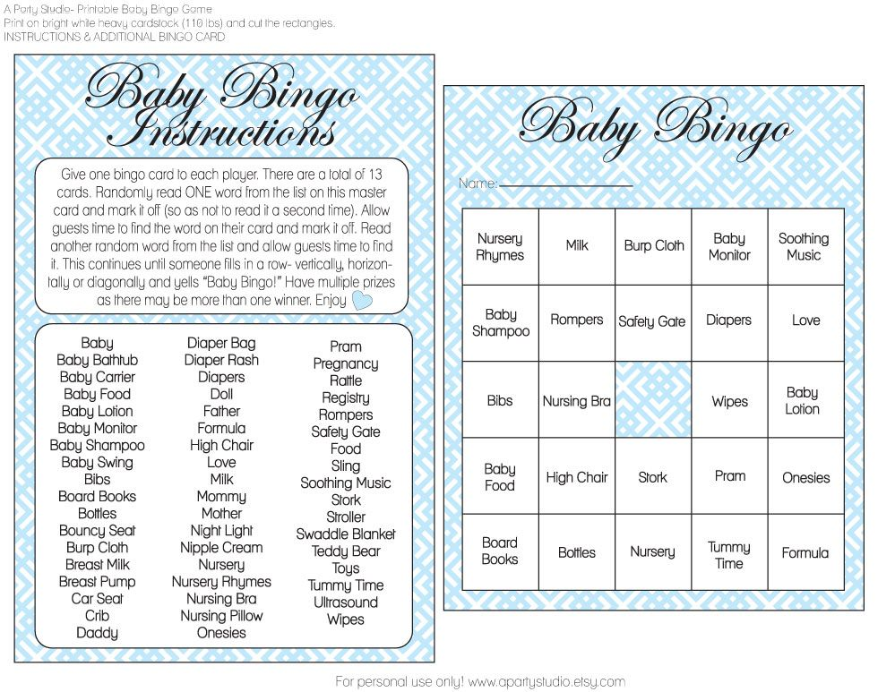 Free Girl And Boy Baby Shower Bingo Printables From A Party Studio Baby Shower Bingo Baby Shower Bingo Printable Baby Shower Printables