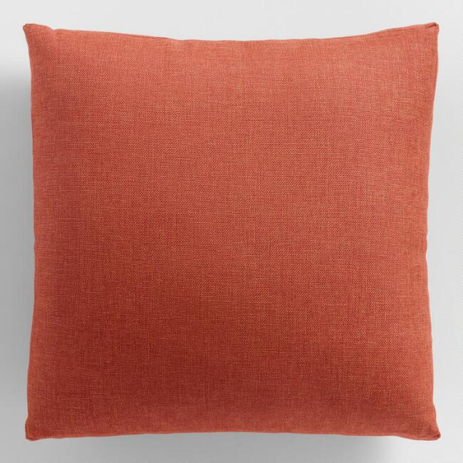 Red Orange Gusseted Outdoor Throw Pillow V1 Throw