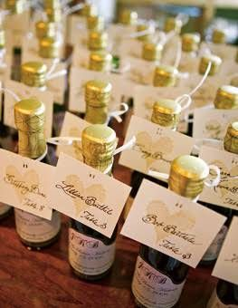 Mini Champagne Bottle Cards Real Wedding