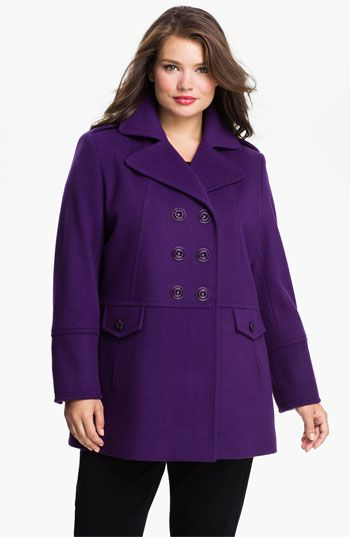 5ca406a771d Kristen Blake Double Breasted Peacoat (Plus) available at  Nordstrom ...