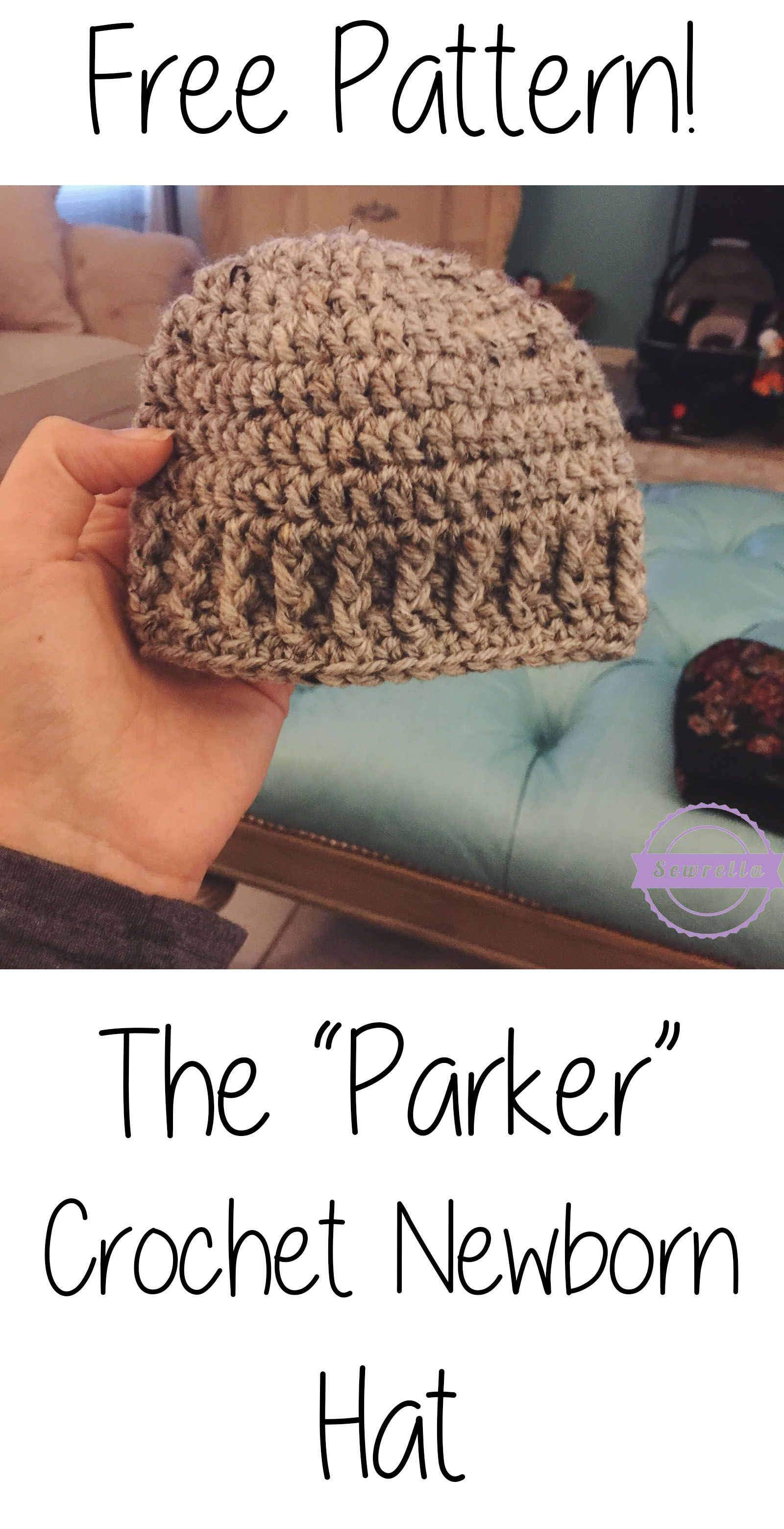 Such a quick and easy FREE newborn hat crochet pattern! Perfectly ...