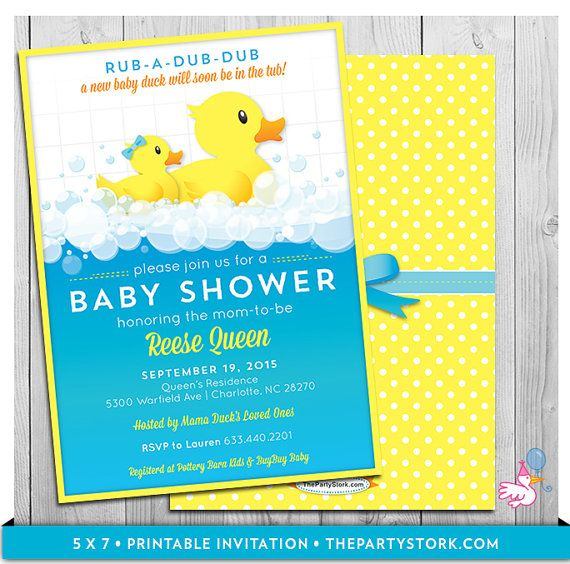 Rubber Ducky Baby Shower Invitations Printable Invitation With Free Back Blue Yellow Orange Boy Duck Party Printables Available