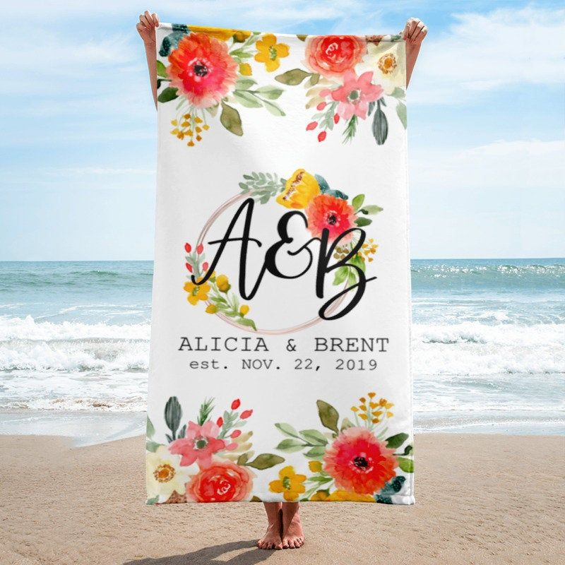 Wedding Monogrammed Beach Towel Custom Floral Beach Towel With