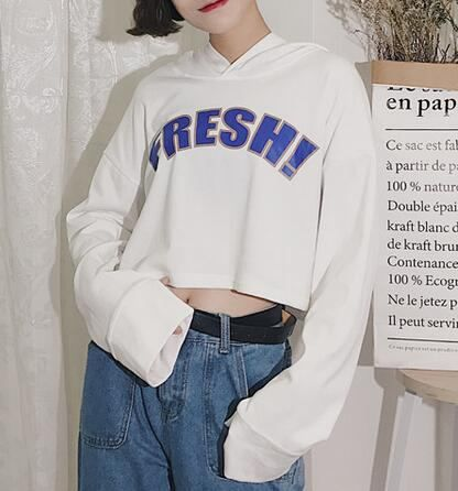 Cropped letter fresh hoodie for women drop shoulder tops  dd803fc5d