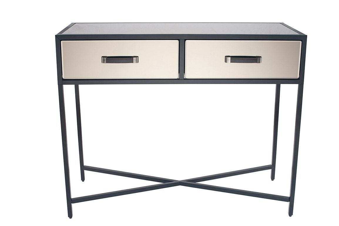 Bronze Mirrored Glass Black Metal Console Table Console Table