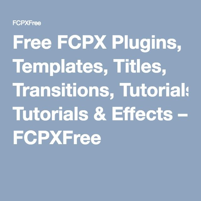 Fcpx Plugins Free