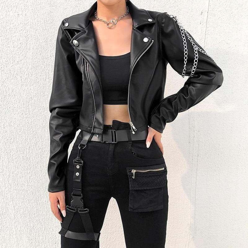 Photo of Punk Chains Leather Jacket #leatherjacketoutfit Punk Chains Leather Jacket | 82 …