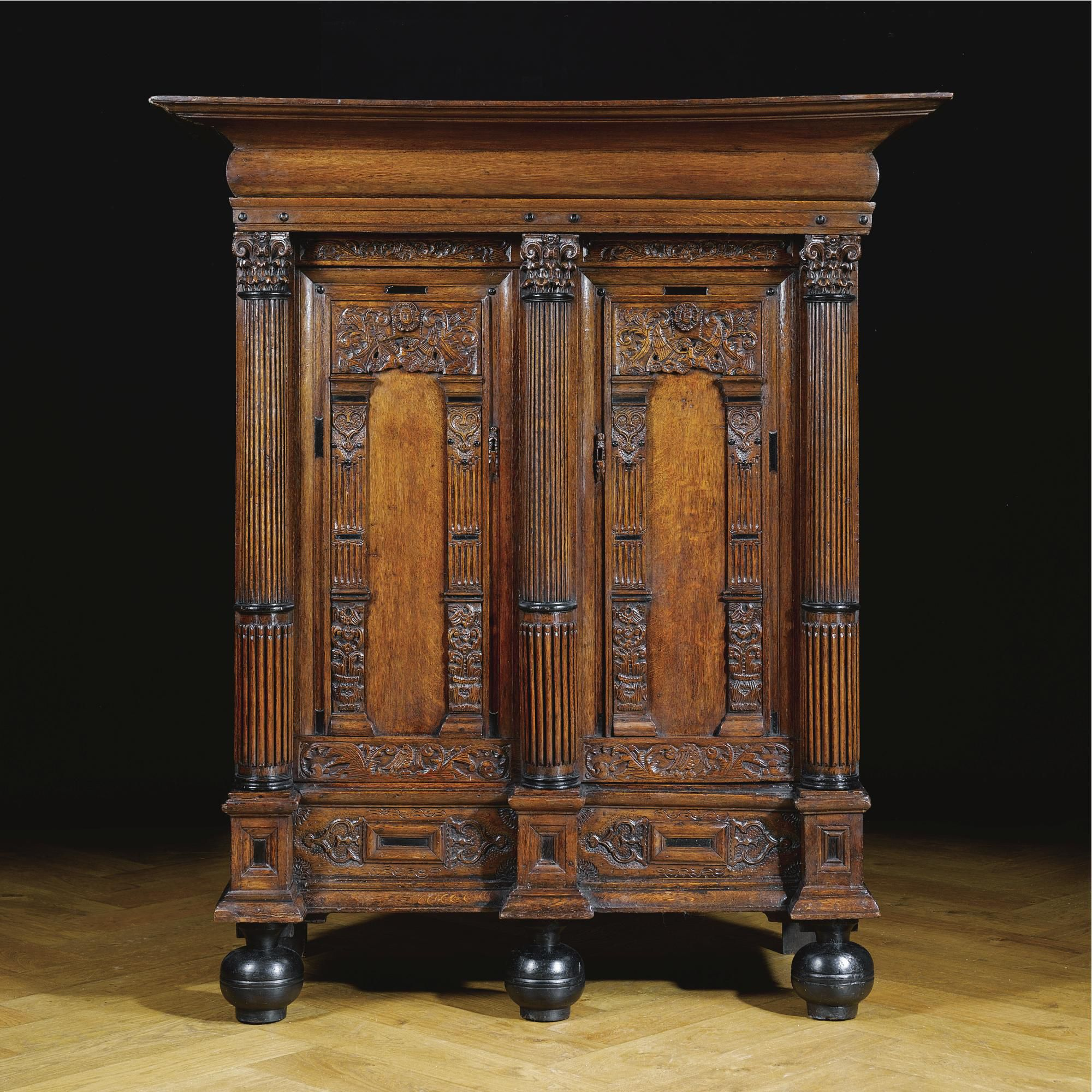 A Dutch Oak And Ebony Two Door Cupboard Or Keeftkast