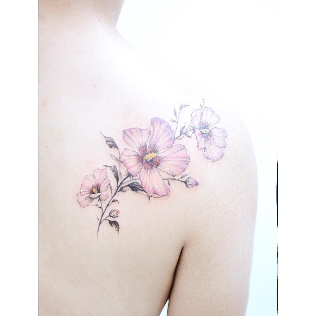 be9f67ba6 :Rose of sharon Color ver. . #tattooistbanul #tattoo #tattooing  #roseofsharon…