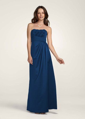 Amazon.com: David's Bridal Bridesmaid Dresses Satin Long Dress with Chiffon Floral Bodice Style F14207