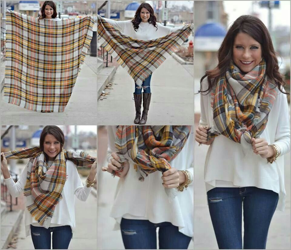 How to fold blanket scarves Ways to wear a scarf, How to
