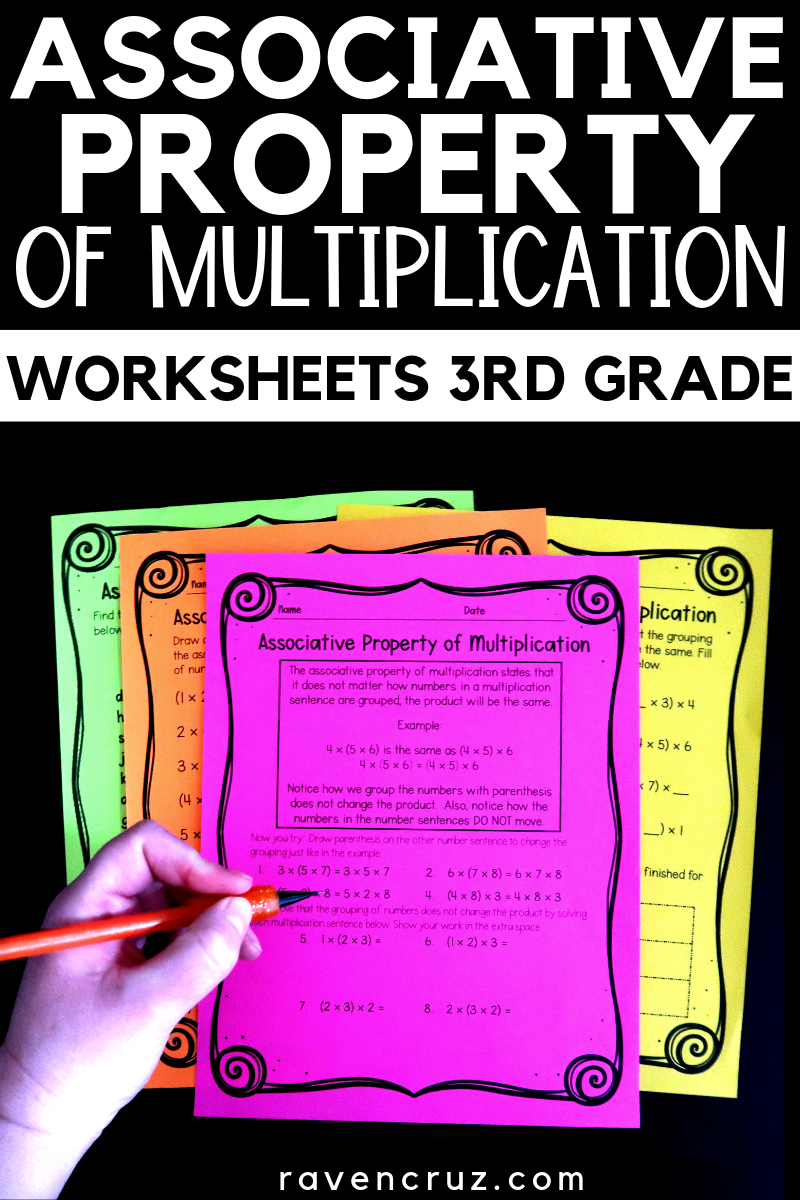 Associative property worksheets for third-grade math. 3rd grade math  multiplication …   Middle school math resources [ 1200 x 800 Pixel ]