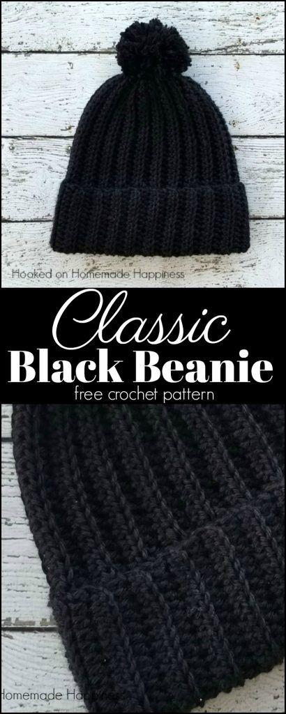 Classic Black Beanie Crochet Pattern   Gorros, Tejido y Ganchillo