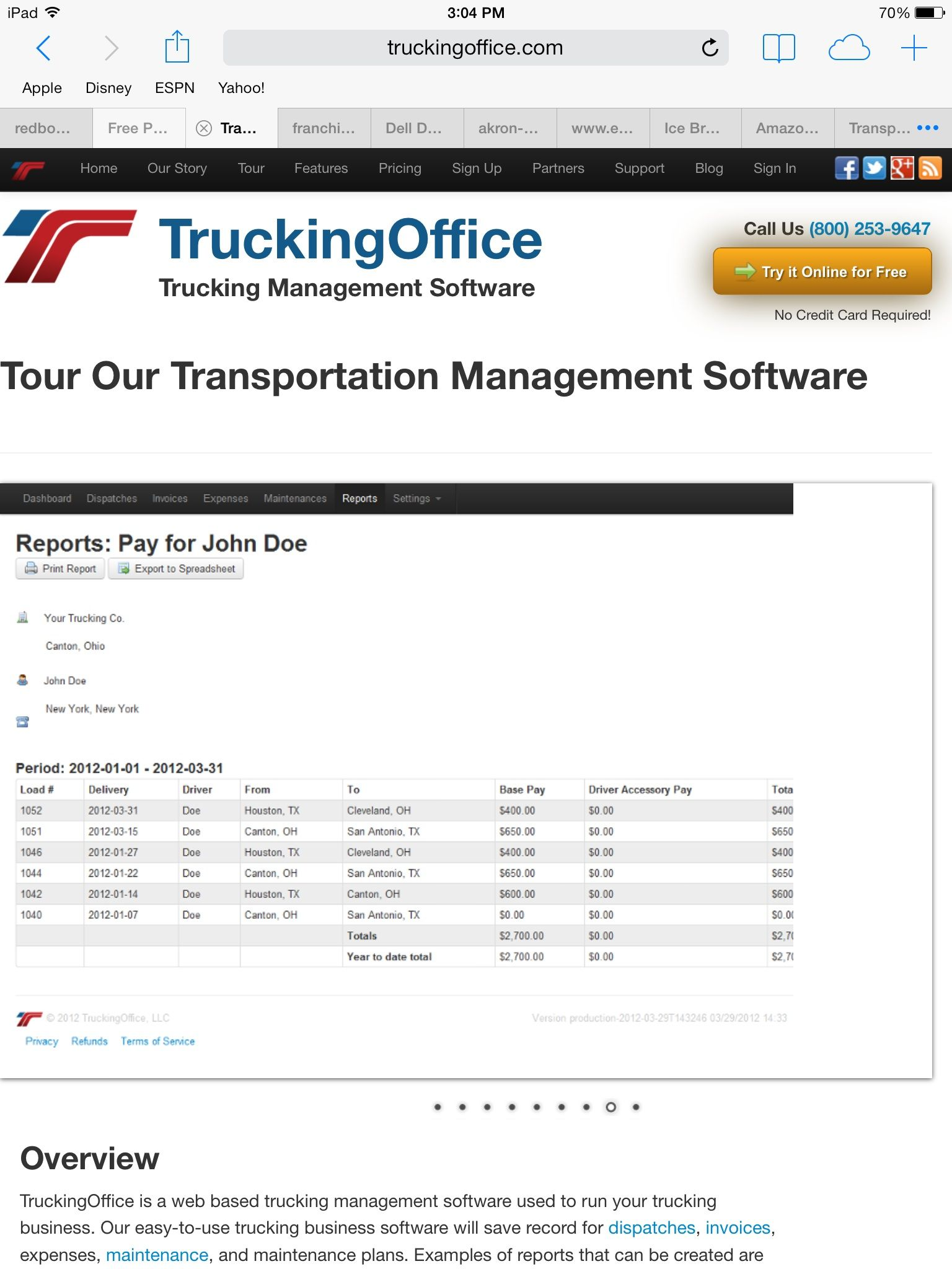 Trucking Office Software Software, Supportive, Credit card