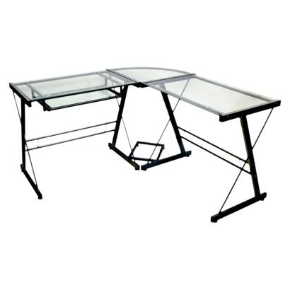 Glass L Shaped Computer Desk With Keyboard Tray Black Saracina Home Corner Computer Desk Saracina Home Black Desk