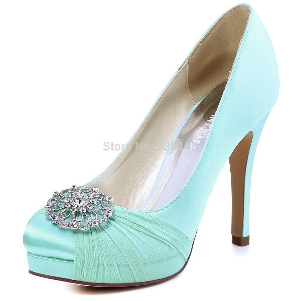 HC1609P Woman Mint High Heel Bridal Wedding Shoes Closed Toe ...